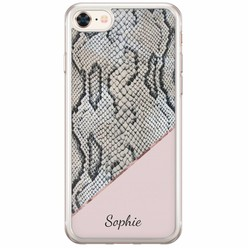 Casimoda iPhone 8/7 siliconen hoesje naam - Snake print roze