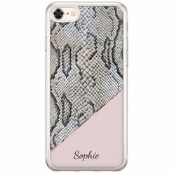 iPhone 8/7 siliconen hoesje naam - Snake print roze
