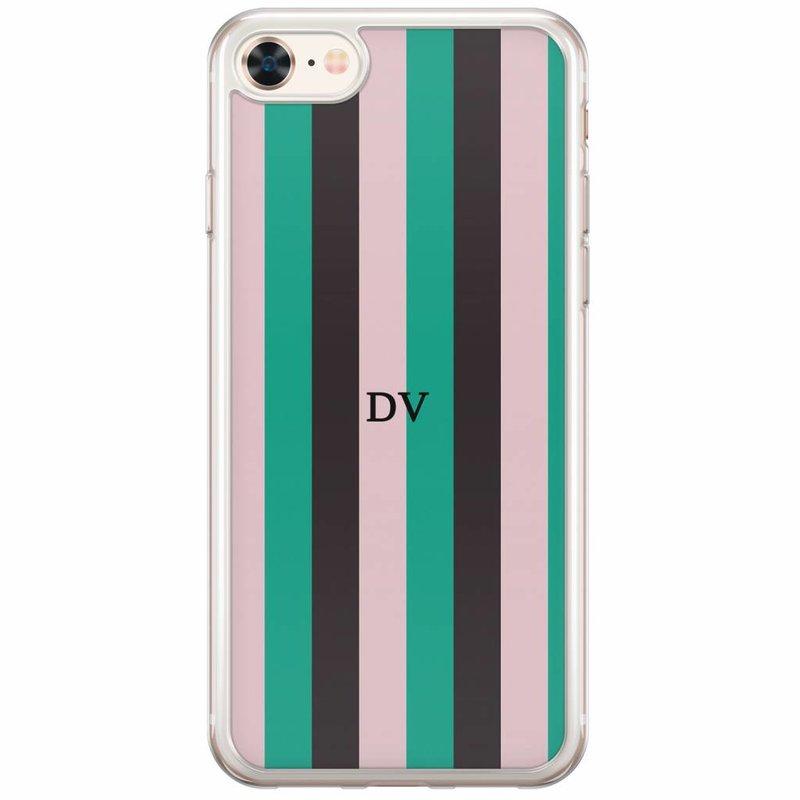 iPhone 8/7 siliconen hoesje naam - Stripe vibe