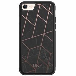 iPhone 8/7 hardcase hoesje naam - Marble grid