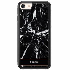 Casimoda iPhone 8/7 hardcase hoesje naam - Marmer zwart