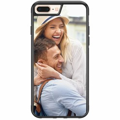 iPhone 8 Plus / 7 Plus rubber zwart - Hardcase met foto