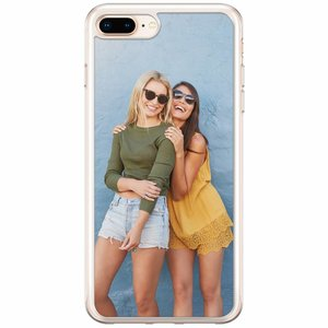 iPhone 8 Plus / 7 Plus siliconen zwart - Softcase met foto