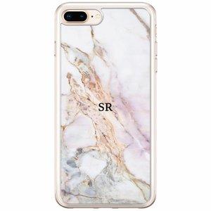 Casimoda iPhone 8 Plus / 7 Plus siliconen hoesje naam - Parelmoer marmer