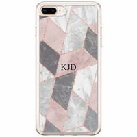 Casimoda iPhone 8 Plus / 7 Plus siliconen hoesje naam - Stone grid