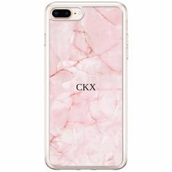 Casimoda iPhone 8 Plus / 7 Plus siliconen hoesje naam - Marmer roze