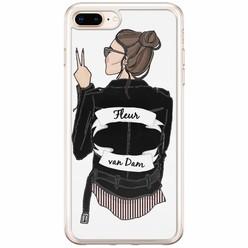 Casimoda iPhone 8 Plus / 7 Plus siliconen hoesje naam - Badass babe brunette