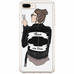 iPhone 8 Plus / 7 Plus siliconen hoesje naam - Badass babe brunette