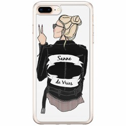 iPhone 8 Plus / 7 Plus siliconen hoesje naam - Badass babe blondine