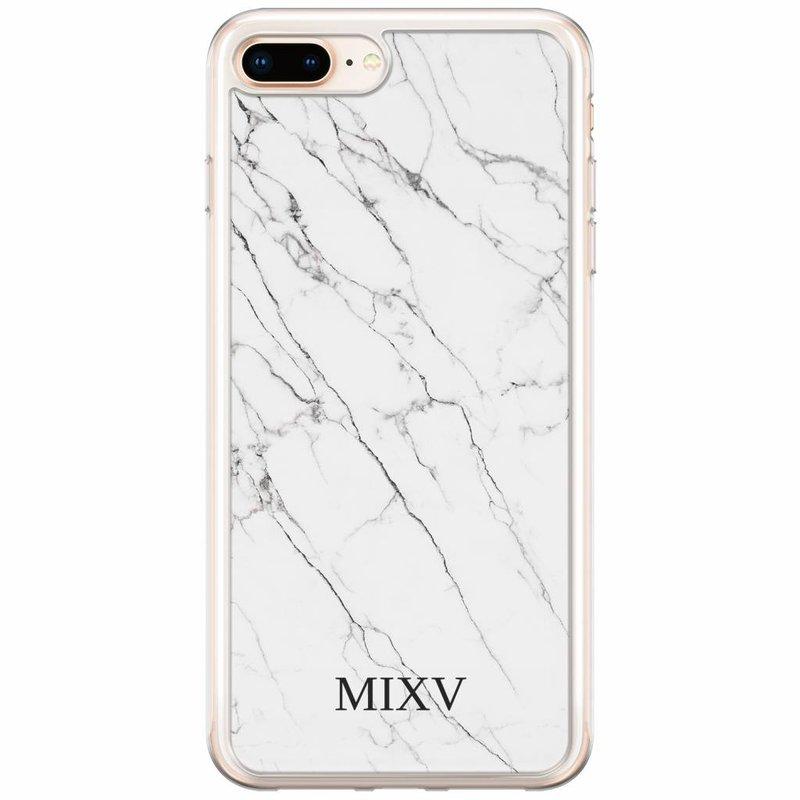 Casimoda iPhone 8 Plus / 7 Plus siliconen hoesje naam - Marmer grijs