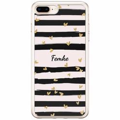 Casimoda iPhone 8 Plus / 7 Plus siliconen hoesje naam - Hart streepjes