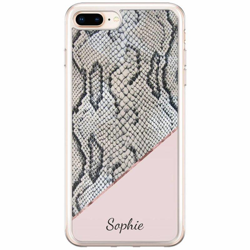 Casimoda iPhone 8 Plus / 7 Plus siliconen hoesje naam - Snake print roze