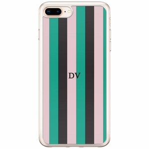 iPhone 8 Plus / 7 Plus siliconen hoesje naam - Stripe vibe