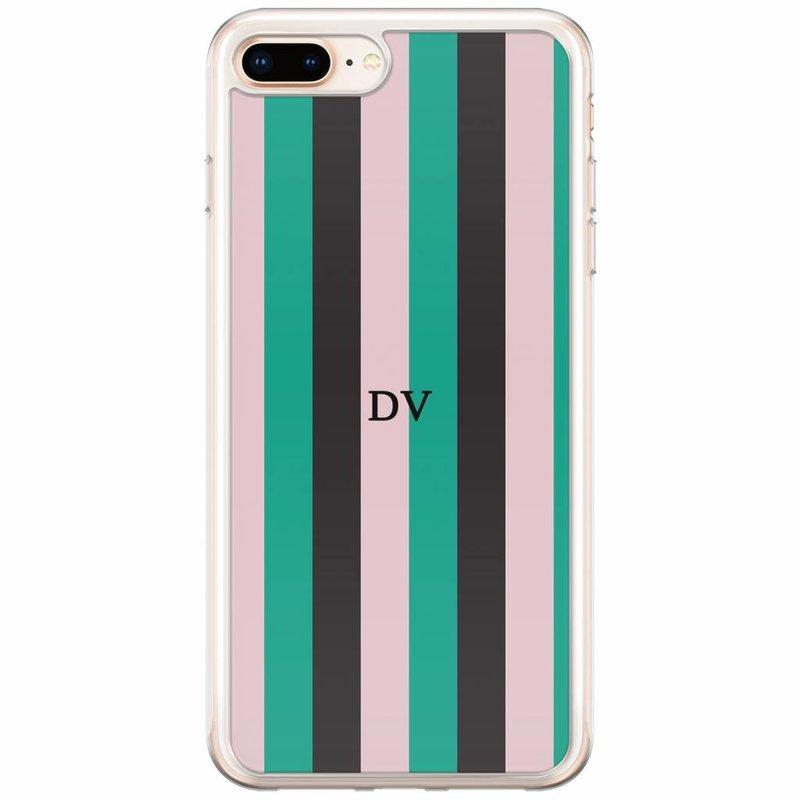 Casimoda iPhone 8 Plus / 7 Plus siliconen hoesje naam - Stripe vibe