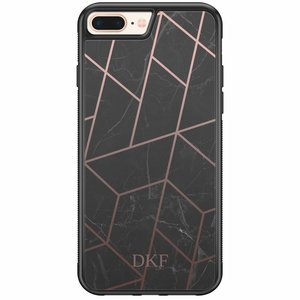 iPhone 8 Plus / 7 Plus hardcase hoesje naam - Marble grid