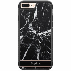 iPhone 8 Plus / 7 Plus hardcase hoesje naam - Marmer zwart