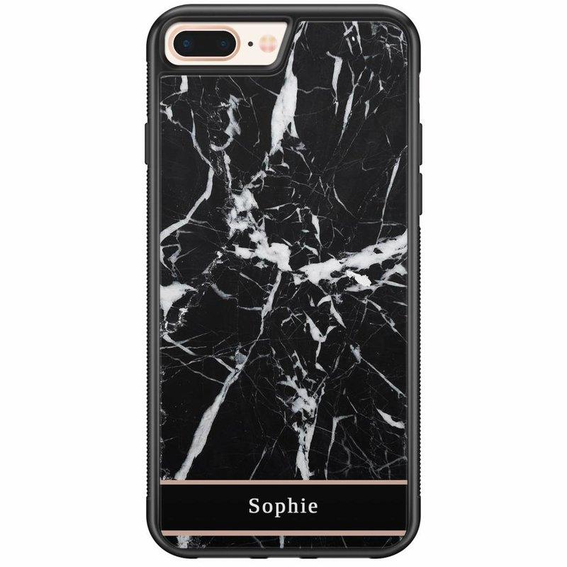 Casimoda iPhone 8 Plus / 7 Plus hardcase hoesje naam - Marmer zwart