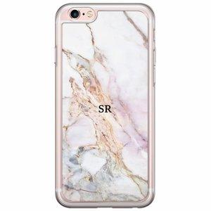 iPhone 6/6s siliconen hoesje naam - Parelmoer marmer