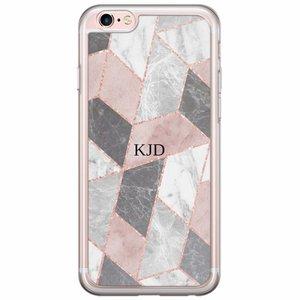 iPhone 6/6s siliconen hoesje naam - Stone grid