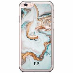 iPhone 6/6s siliconen hoesje naam - Marmer blauw goud