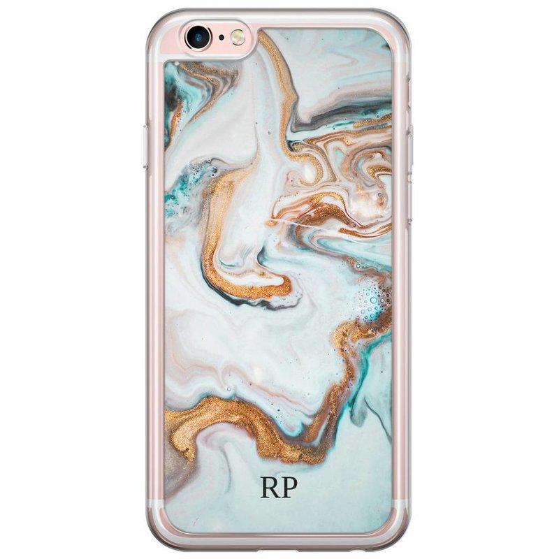 Casimoda iPhone 6/6s siliconen hoesje naam - Marmer blauw goud