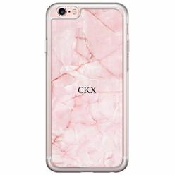 iPhone 6/6s siliconen hoesje naam - Marmer roze