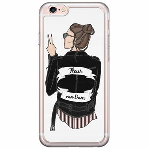 iPhone 6/6s siliconen hoesje naam - Badass babe brunette