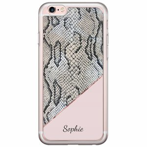 iPhone 6/6s siliconen hoesje naam - Snake print roze