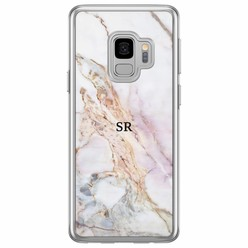 Casimoda Samsung Galaxy S9 siliconen hoesje naam - Parelmoer marmer