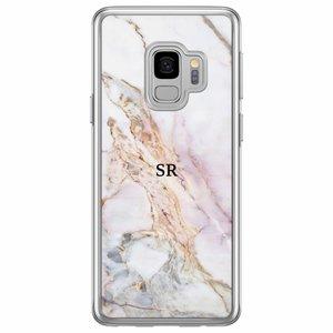 Samsung Galaxy S9 siliconen hoesje naam - Parelmoer marmer