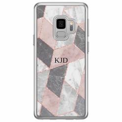 Samsung Galaxy S9 siliconen hoesje naam - Stone grid