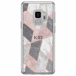 Casimoda Samsung Galaxy S9 siliconen hoesje naam - Stone grid