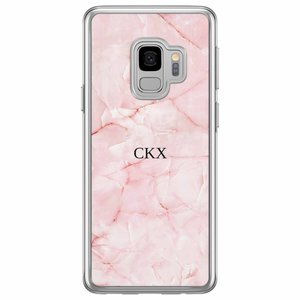 Casimoda Samsung Galaxy S9 siliconen hoesje naam - Marmer roze