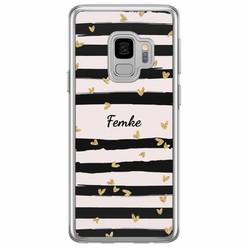 Samsung Galaxy S9 siliconen hoesje naam - Hart streepjes
