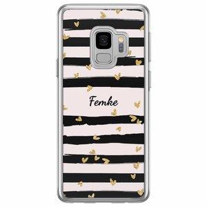 Casimoda Samsung Galaxy S9 siliconen hoesje naam - Hart streepjes