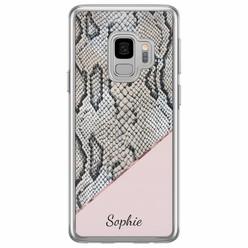 Casimoda Samsung Galaxy S9 siliconen hoesje naam - Snake print roze