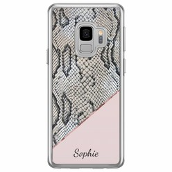 Samsung Galaxy S9 siliconen hoesje naam - Snake print roze