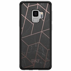 Casimoda Samsung Galaxy S9 hardcase hoesje naam - Marble grid