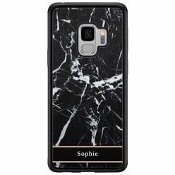 Samsung Galaxy S9 hardcase hoesje naam - Marmer zwart
