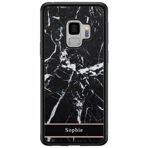 Casimoda Samsung Galaxy S9 hardcase hoesje naam - Marmer zwart