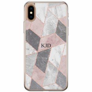 iPhone XS Max siliconen hoesje naam - Stone grid
