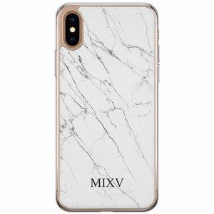 Casimoda iPhone XS Max siliconen hoesje naam - Marmer grijs