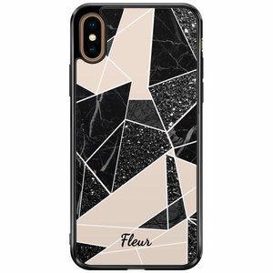 iPhone XS Max siliconen hoesje naam - Abstract painted