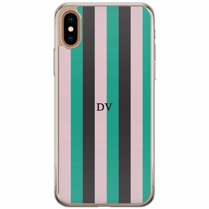 iPhone XS Max siliconen hoesje naam - Stripe vibe