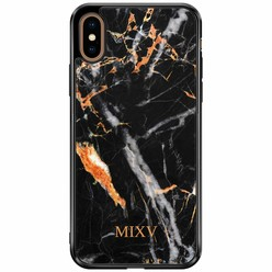 Casimoda iPhone XS Max hardcase hoesje naam - Marmer zwart goud