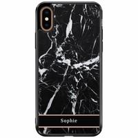 Casimoda iPhone XS Max siliconen hoesje naam - Marmer zwart