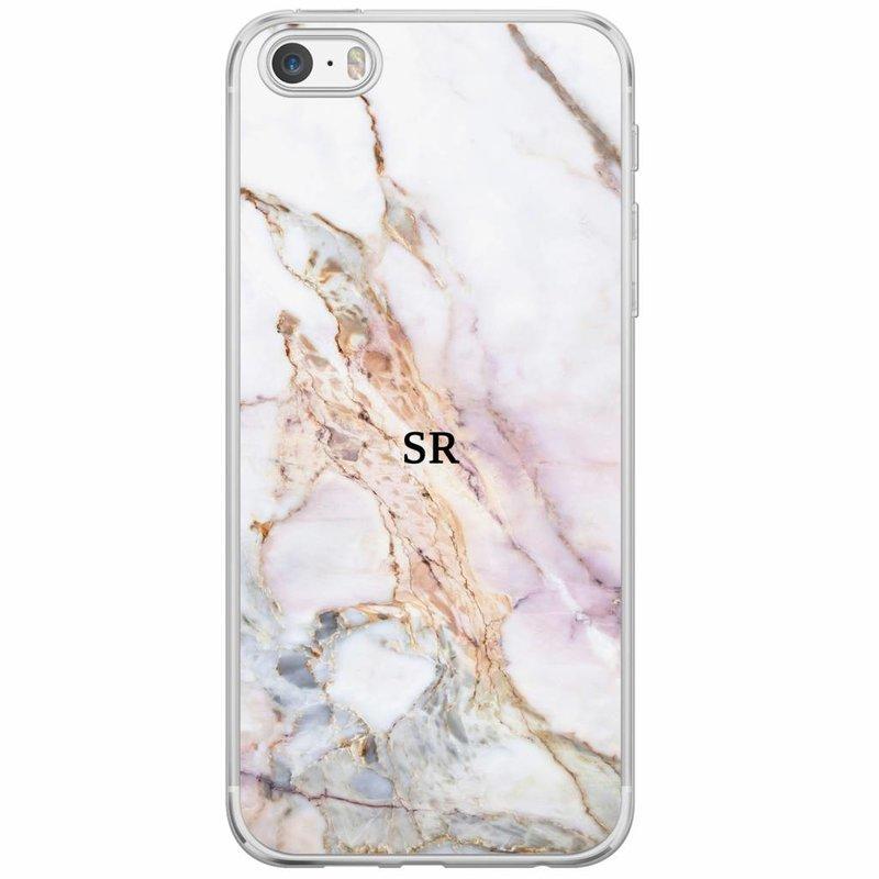 Casimoda iPhone 5/5S/SE siliconen hoesje naam - Parelmoer marmer