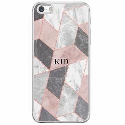 iPhone 5/5S/SE siliconen hoesje naam - Stone grid