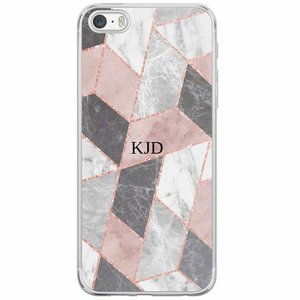 Casimoda iPhone 5/5S/SE siliconen hoesje naam - Stone grid