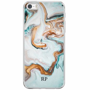 Casimoda iPhone 5/5S/SE siliconen hoesje naam - Marmer blauw goud